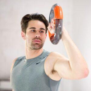 model with orange powerspin