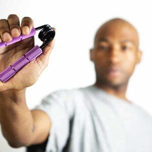 purple gripper with model