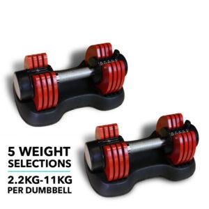 Adjustable Dumbbells 11KG (Pair)- Red