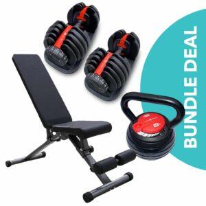 adjustable dumbbell bundle, dumbbell sale, weight bench sale